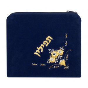 Dark Blue Velvet Tefillin Bag with Flower Design