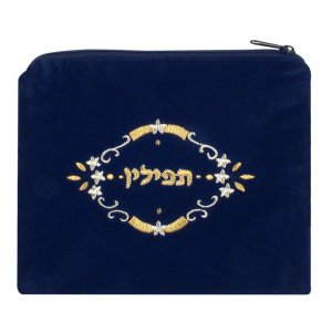 Dark Blue Velvet Tefillin Bag with Three Stars Design