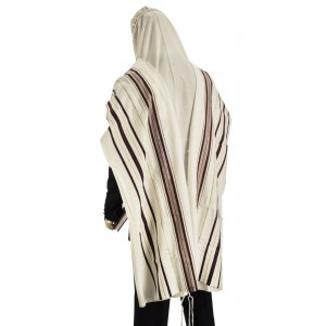 Traditional Tallit 100% Wool with Maroon and Gold Stripes by Talitnia
