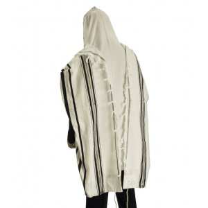 Acrylic Tallit (imitation Wool) Prayer Shawl with Black and Silver Stripes by Talitnia