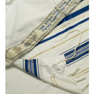 Acrylic Tallit (imitation Wool) Prayer Shawl with Blue and Gold Stripes by Talitnia