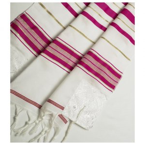 Acrylic Tallit (imitation Wool) Prayer Shawl with Dark Pink and Gold Stripes by Talitnia