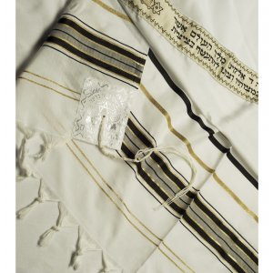Acrylic Tallit (imitation Wool) Prayer Shawl with Black and Gold Stripes by Talitnia