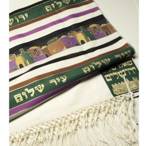 Green Shades Jerusalem Tallit Prayer Shawl by Talitania