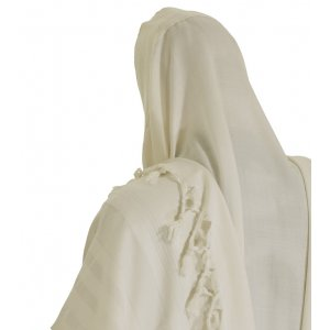 Malchut Non Slip Tallit Wool Prayer Shawl by Talitnia - White Stripes