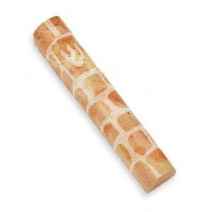 Jerusalem Stone Mezuzah Shin Made in Israel - Brown