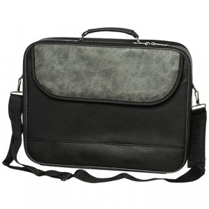 Faux Leather Tallit and Tefillin Briefcase, Strap and Handle - Black and Gray