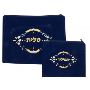 Flower Design Dark Blue Velvet Tallit and Tefillin Bags