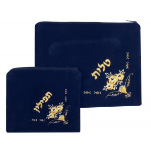 Flowers design Dark Blue Velvet Tallit and Tefillin Bags