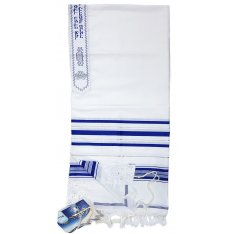 Acrylic Tallit (imitation Wool) Prayer Shawl with Blue and Silver Stripes by Talitnia