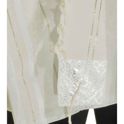 Acrylic Tallit (imitation Wool) Prayer Shawl with White and Silver Stripes by Talitnia