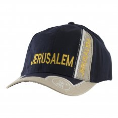 Baseball Cap with Jerusalem and Menorah Design - Dark Blue