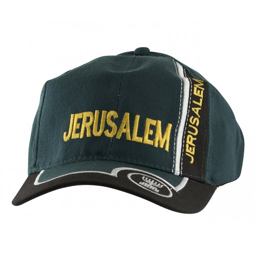 Baseball Cap with Jerusalem and Menorah Design - Green