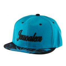 Baseball Cap with Jerusalem and Paint Splatter Design - Turquoise & Black