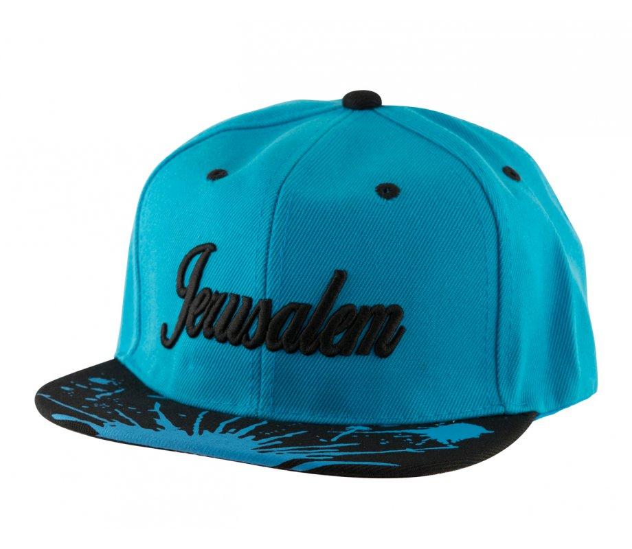 de98b8ba801 Baseball Cap with Jerusalem and Paint Splatter Design - Turquoise   Black