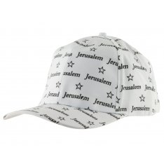 Baseball Cap with Jerusalem and Stars of David design - White
