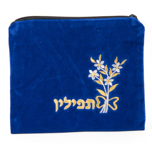 Floral Velvet Royal Blue Tallit and Tefillin Bags