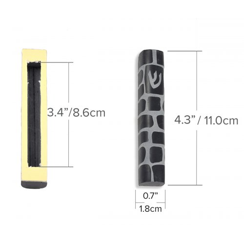 Jerusalem Stone Mezuzah Shin Made in Israel - Black