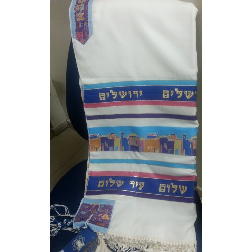 Jerusalem Tallit tied with handmade Ashkenaz thick tzitzit and techelet