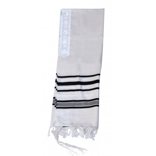 Light Weight Non Slip Gilboa Tallit 100% Wool by Talitnia - Black Stripes