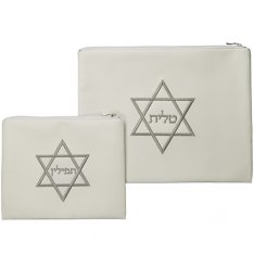 Off White Faux Leather Tallit and Tefillin Bag Set with Embroidered Silver Star of David