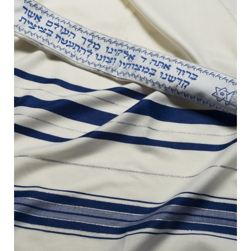Traditional Tallit 100% Wool by Talitnia - Blue and Silver Stripes