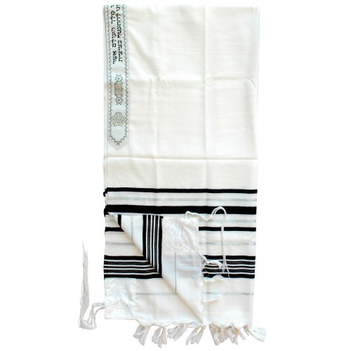 Traditional Tallit 100% Wool with Black and Silver Stripes by Talitnia