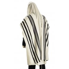 Traditional Tallit 100% Wool with Black and White Stripes by Talitnia