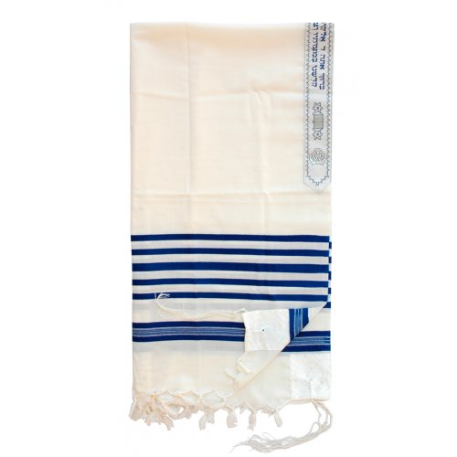Traditional Tallit 100% Wool with Blue and White Stripes by Talitnia