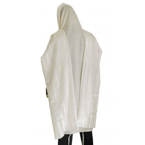 Traditional Tallit 100% Wool with White Stripes by Talitnia