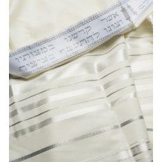 Traditional Tallit 100% Wool with White and Silver Stripes by Talitnia