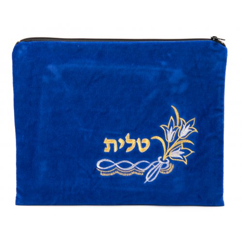Tulip Design Velvet Royal Blue Tallit and Tefillin Bags